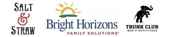 Logos for Salt & Straw, Bright Horizons Family Solutions, and Trunk Club Men's Outfitters