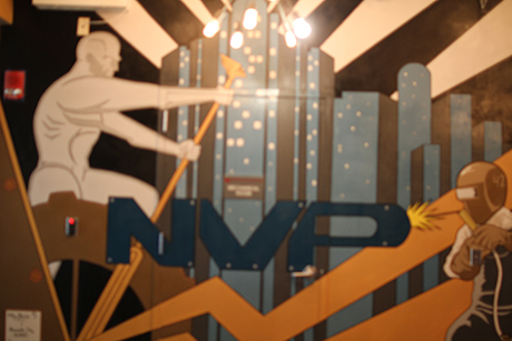 Part of the mural on the seventh-floor of Rutgers Business School, where NVP has its business accelerator.