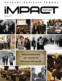 Cover of the 2019 fall impact report which features a collage of different events that took place at the school