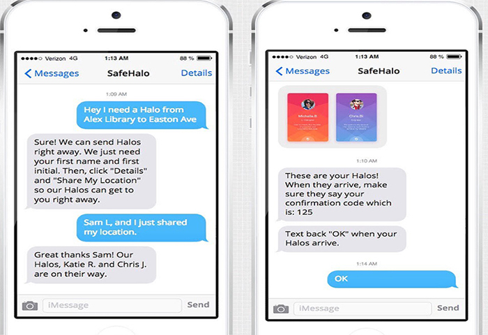 "Students can text a request for ""Halos"" to accompany them home."