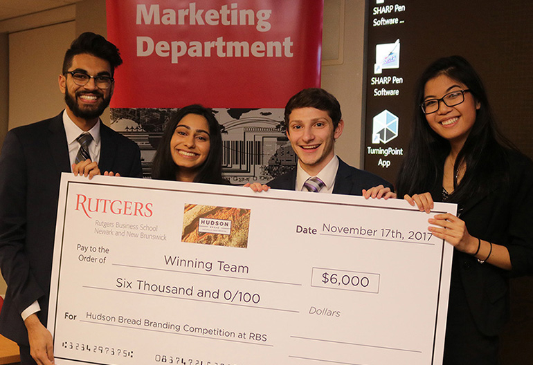 Seniors Akshay Patel, Alyssa Nungra, Brian Lilien and Kristen Tse won the top prize and an opportunity to execute a branding strategy for Hudson Bread.