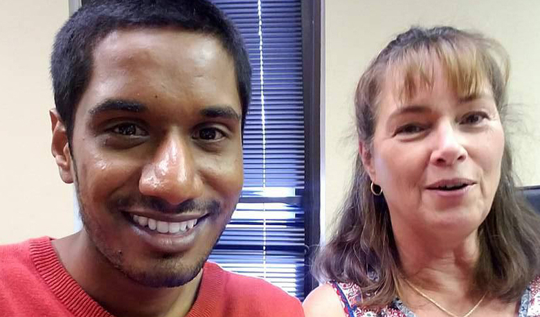 MBA student Yashwanth Dhakshana with his internship supervisor Cheryl Couch. He did a finance-oriented summer internship in Nevada with the Department of Rural Development.