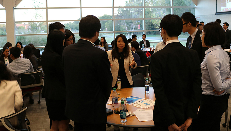 Master of Financial Analysis graduate Catherine Ma credited regular meetings with members of the Chinese Finance Association (like the one pictured above) with teaching important networking skills.
