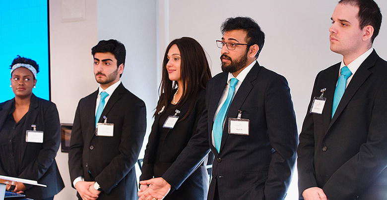 Students from Hudson County Community College presenting during the annual New Jersey County College Case Competition.