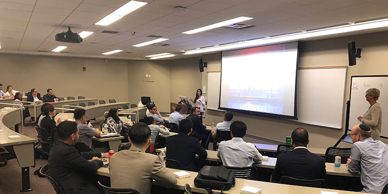 Current students in the MBA in Professional Accounting program attend a lunch and learn.