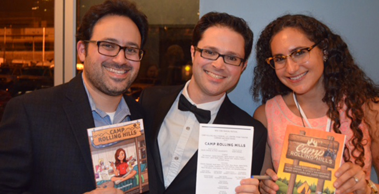 David Spiegel with his composer brother Adam and author Stacy Davidowitz on the opening night performance of the musical Camp Rolling Hills in New York.