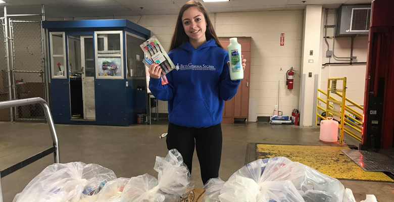 Along with the Beta Gamma Sigma food drive, the group collected toiletry donations to contribute to the Jersey Cares First Night Kits Drive that supports women and children fleeing domestic violence.