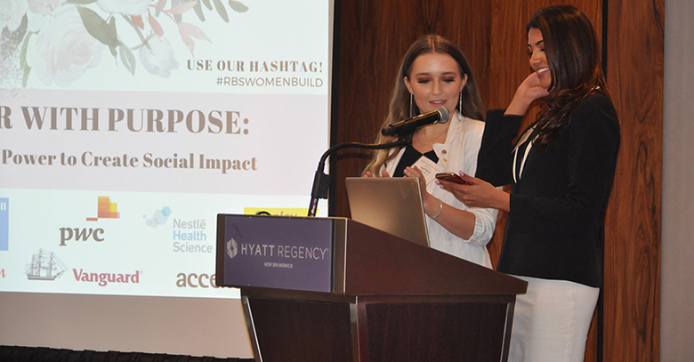 Rutgers Business School junior Anna Pisklarov was a master-of-ceremony at the annual Women BUILD Summit.