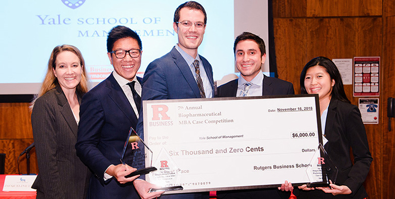 A team from Yale School of Management were first place winners in the Rutgers annual biopharmaceutical case competition.