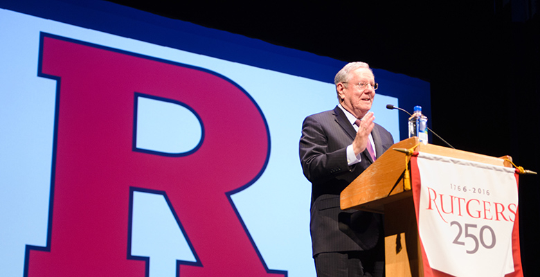 Steve Forbes, editor-in-chief of Forbes Magazine and chairman of Forbes Media, spoke about how to be an effective leader to just over 750 Rutgers Business School students, alumni and guests on Sunday.