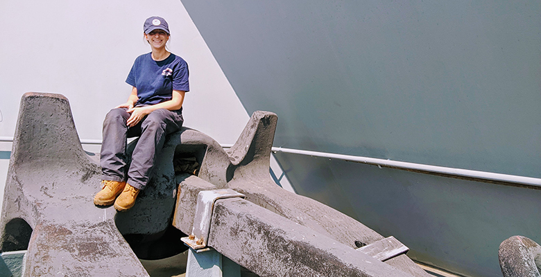 """This photo was taken on the SS Wright in Philadelphia, PA in 2019.  I wanted to take the photo because even though I'm small (compared to the size of the anchor), I am mighty!"""