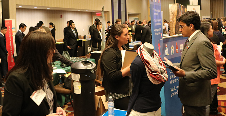 Students make vital connections with recruiters attending the annual career fair on the Rutgers University-Newark Campus.