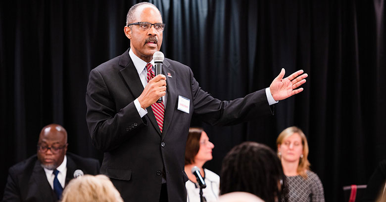 Leon Fraser at Rutgers Business School's Business Community Engagement Symposium in November.