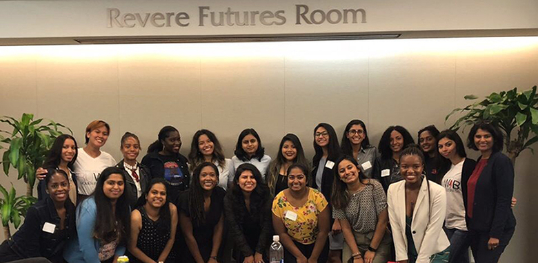 Mari-Elle Sudarkasa poses with members of Women BUILD and Rutgers Business School Assistant Dean Sangeeta Rao, far right.