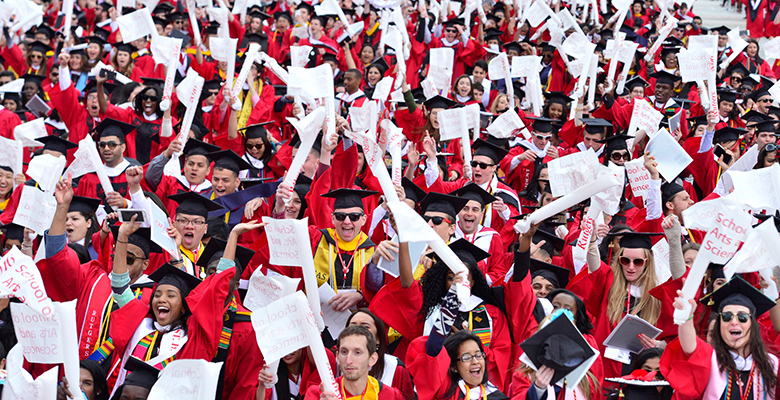 Cheering students at Rutgers University Commencement.