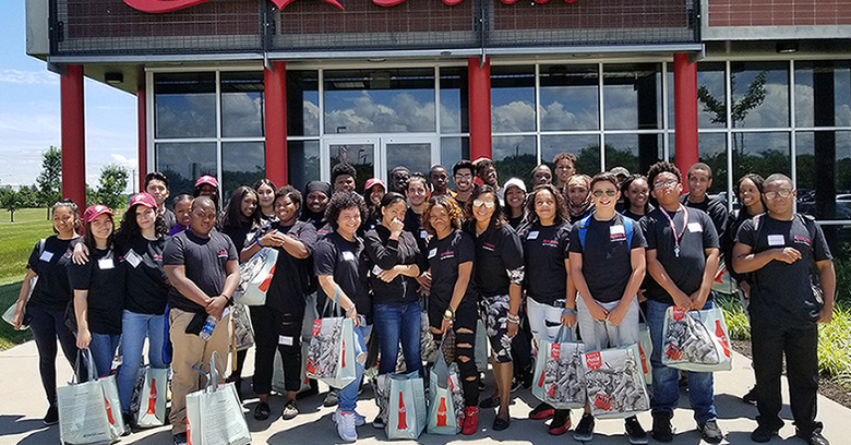 Students participating in the 2017 summer program took a tour of Coco-Cola as part of their introduction to supply chain management.