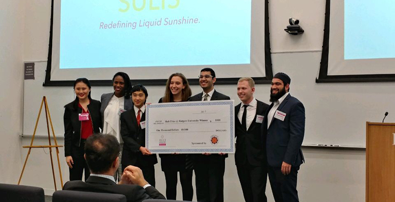 From left: Sophia Zhou, Hult at Rutgers Campus Director; Suna Lumeh, Scientist and STEM Outreach Advocate, Johnson & Johnson; Yuki Osumi; Sarah Pomeranz; Anurag Modak; Ari Mendelow, and Hasan Usmani, Founder & COO, Roshni Rides (Hult Prize 2017 Global Winner).