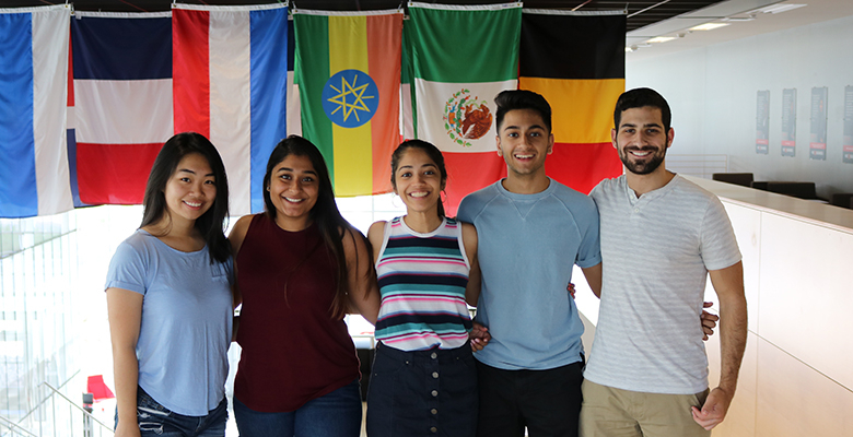 Student counselors (from left) Tracy Tai, Nikki Patel, Dhvani Shah, Rushi Shukla, Derek Greenberg.