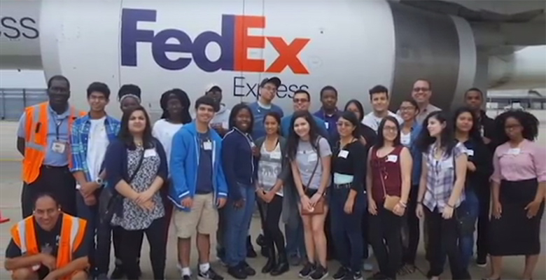 As part of the program, students were able to tour FedEx facilities.
