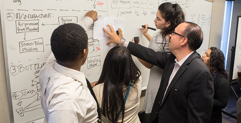 Professor John Impellizerri with students participating in the supply chain program.