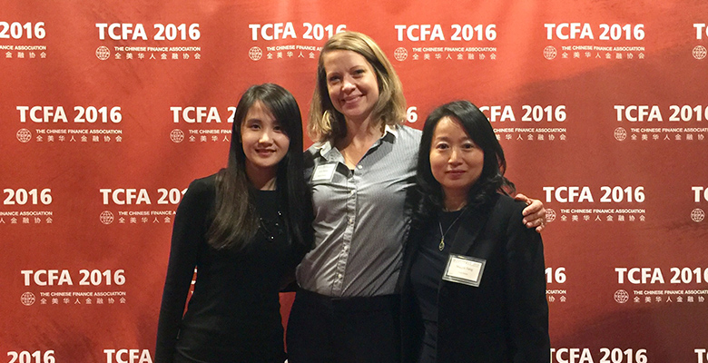 MFinA Assistant Director of Career Management Ying Ni, Kim Molee Director of Career Management, and TCFA President Maggie Jiang attended the TCFA 22nd Annual Conference in New York.