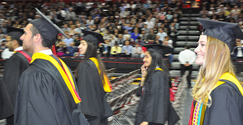 Lauren Kelly, right, studied finance at Rutgers Business School and heads to Wall Street after graduation.