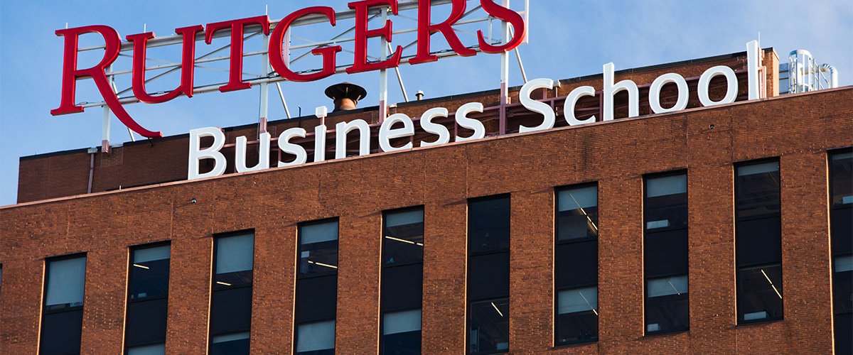 The Rutgers Business School sign atop the building at 1 Washington Park