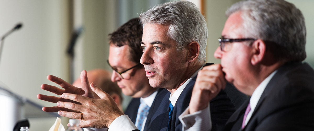 Activist investor Bill Ackman speaks at Rutgers Business School event in New York City.