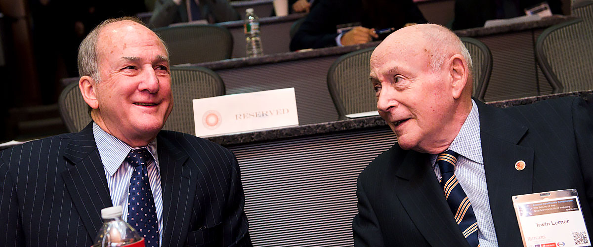 Irwin Lerner and Robert L. Barchi attend a center event
