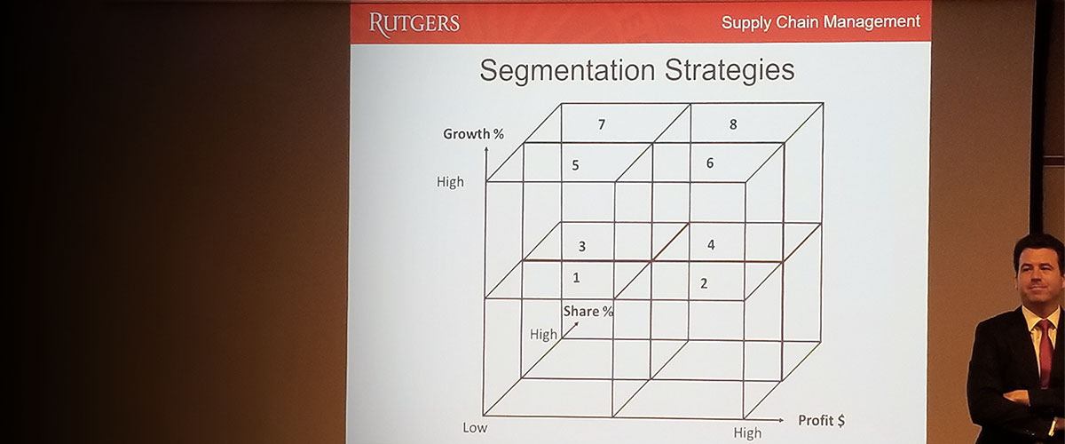 Professor Rudi Leuschner in front of his presentation on segmentation strategies