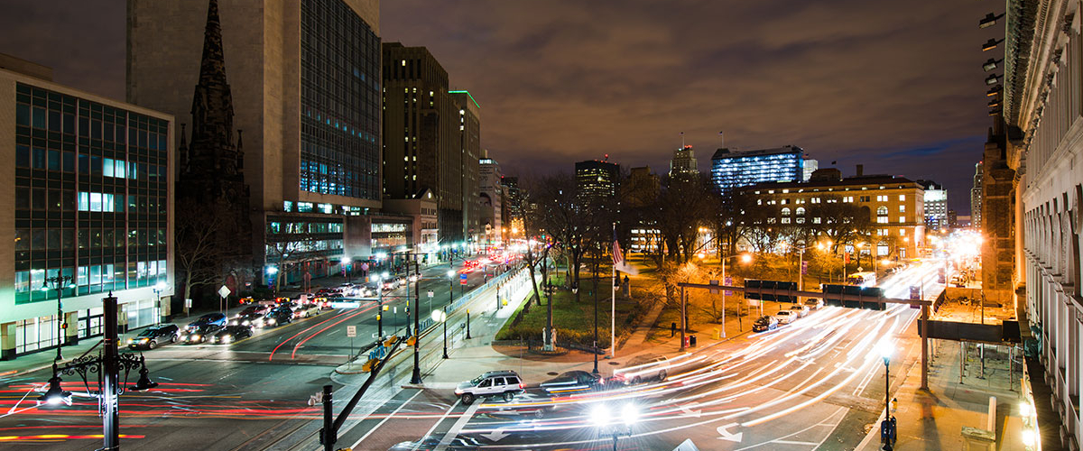 Nightime view of Washington street from the Rutgers Business School