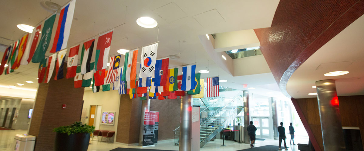 International flags at Rutgers Business School, Newark.