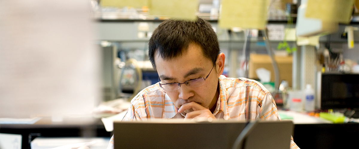 A male student in intense though as he looks over his work