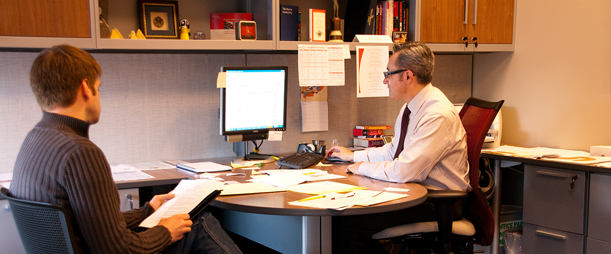 Dean Vera (right), Director Of The MBA Office Of Career Management At  Rutgers Business School Works With An MBA Student.