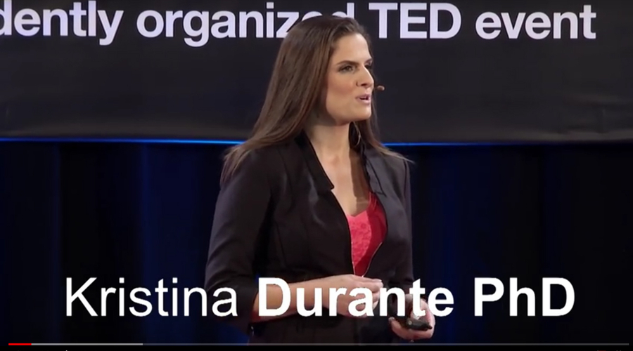 Kristina Durante giving a TEDx Talk